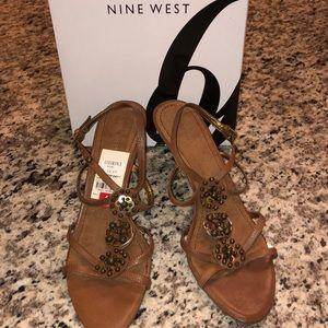 Nine West Rosacious Sandals- Dark Natural